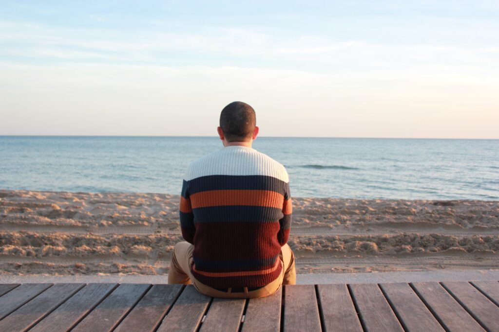 Man staring out at sea